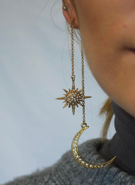 Long star and moon earrings