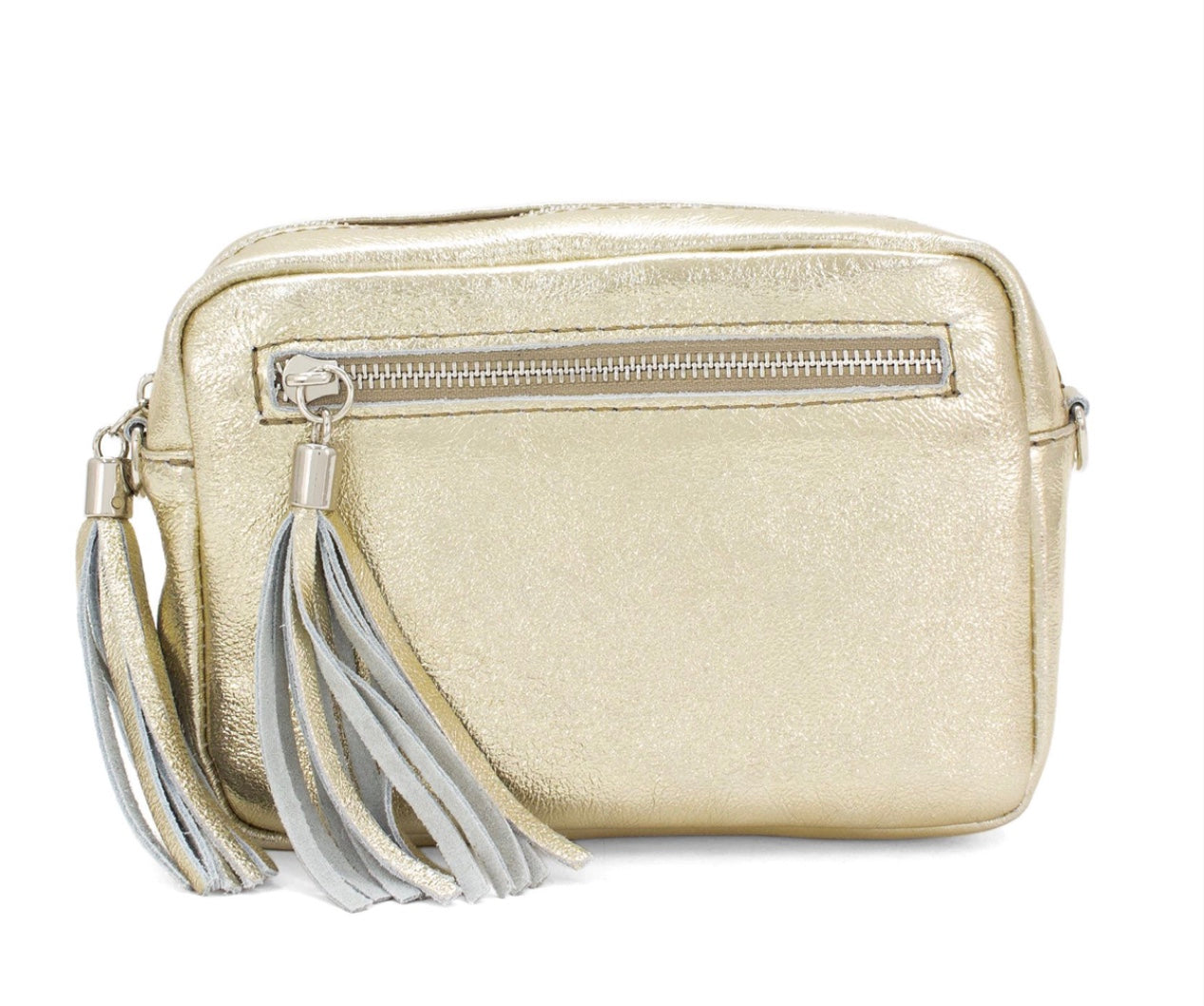 Metallic gold cross body bag