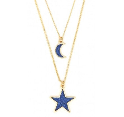 Blue glittering moon and star layered necklace