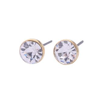 Solitaire earrings with clear crystal, in gold colour setting