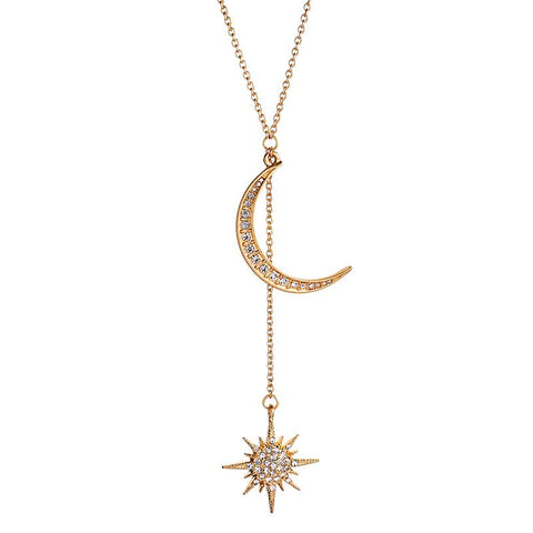 Crystal moon and drop star necklace