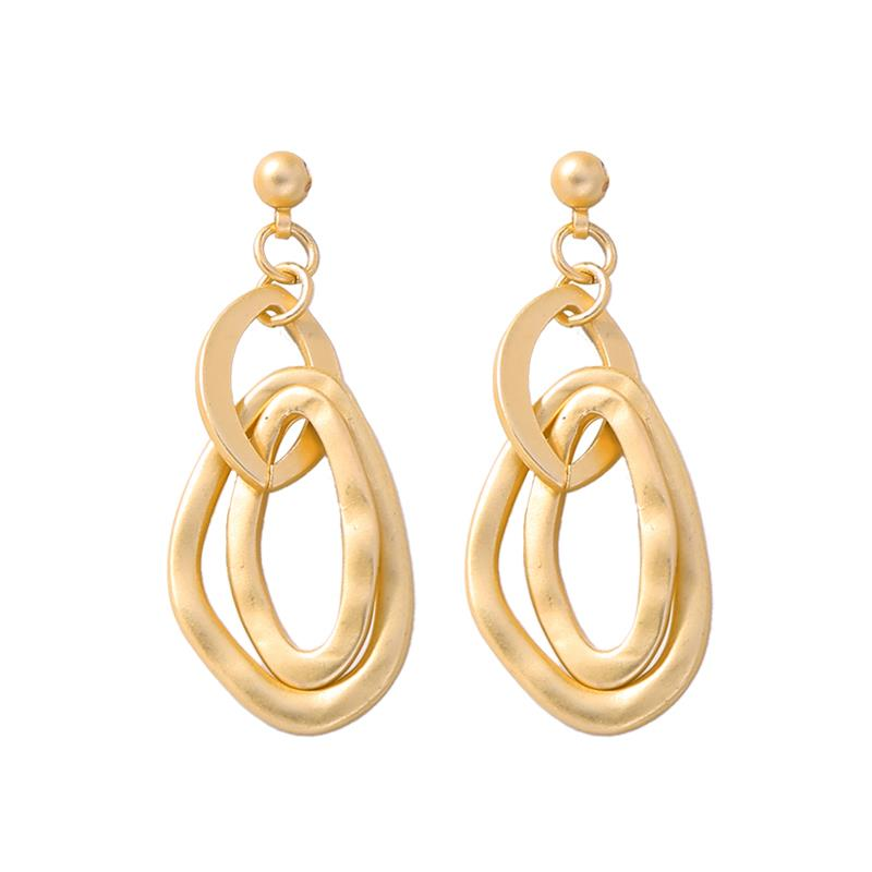 Brushed gold multi drop earring