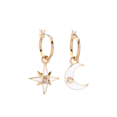 Dainty moon and star hoops