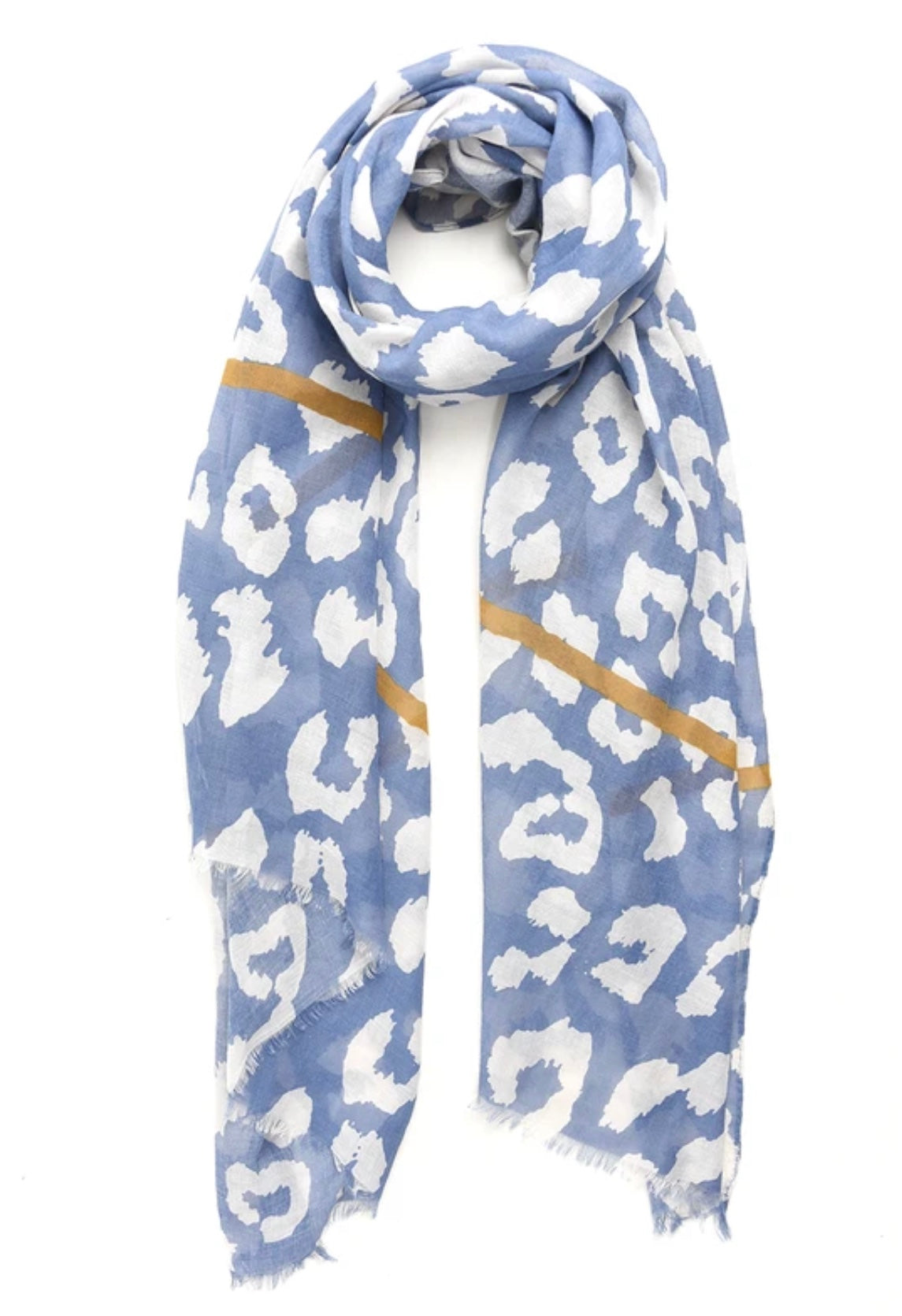 Soft blue scarf with border detail