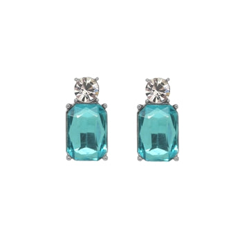 Turquoise coloured glass crystal earrings