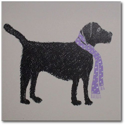 Black lab with glitter scarf card