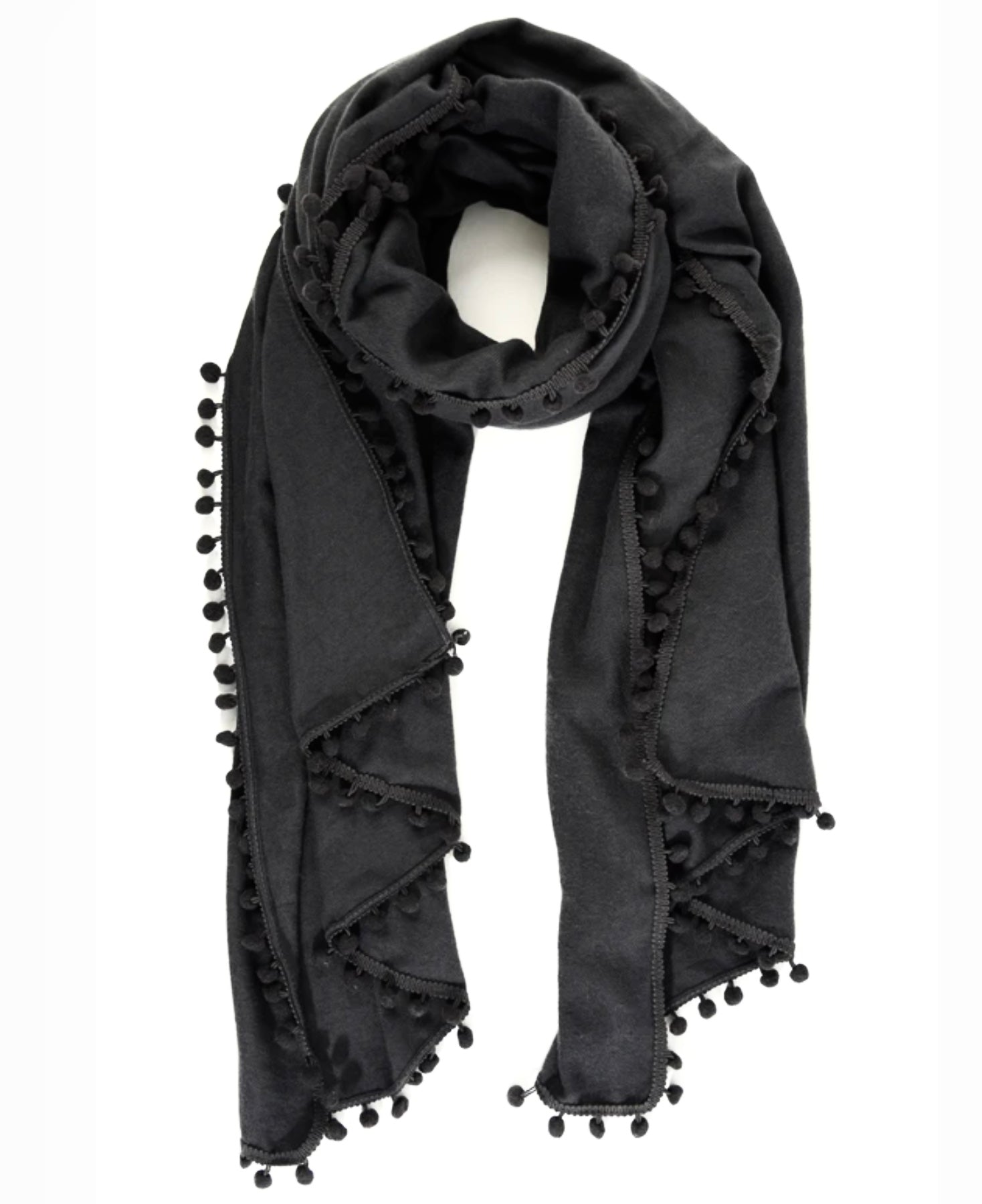 Charcoal bobble trim scarf