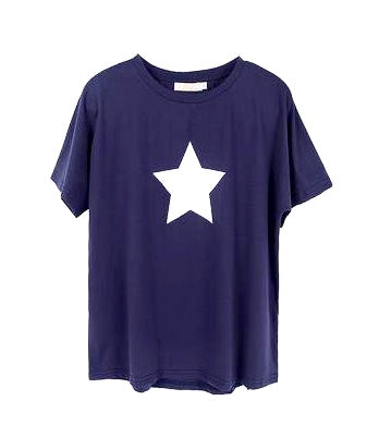 Navy and white star T shirt