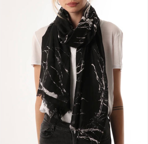 Black and white branch print scarf