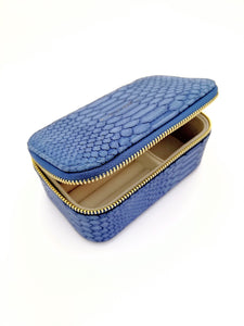 Navy snake skin print jewellery box