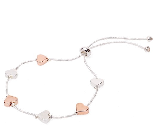 Heart bracelet in rose gold and silver
