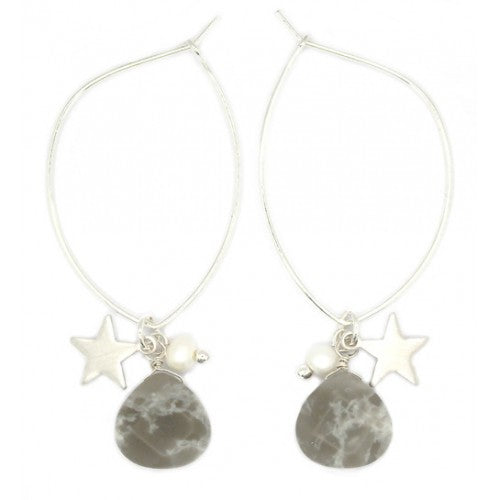 Grey stone, star and natural Pearl hoop earrings