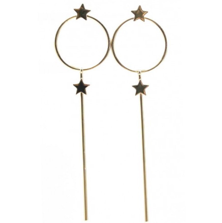 Dainty star long drop earring