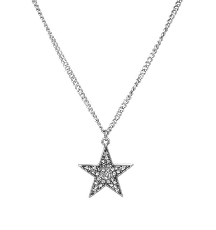 Crystal star necklace on silver chain