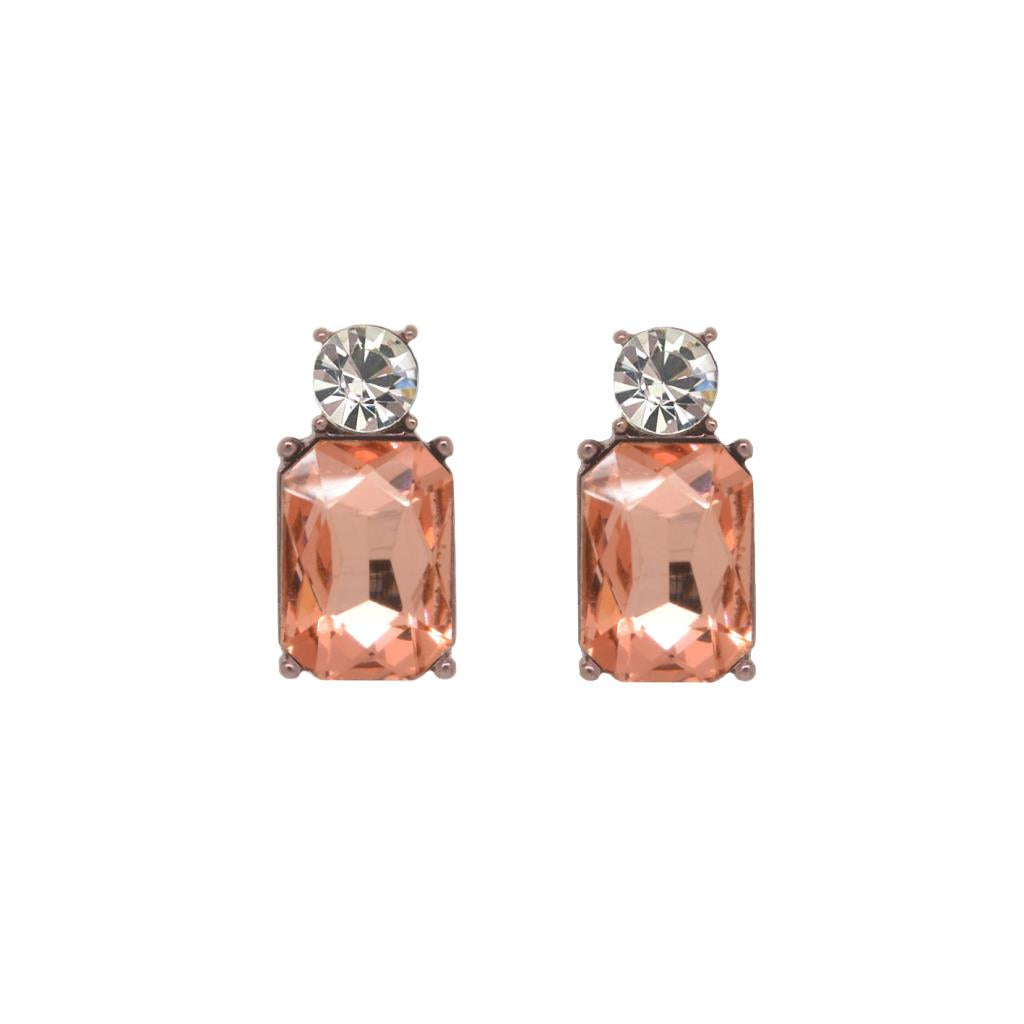 Soft Rose coloured, glass crystal earrings, with sterling silver post