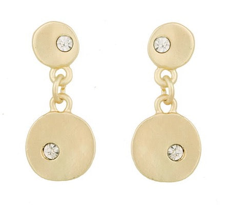 Brushed gold crystal inlaid earring