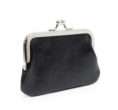 Black metallic leather coin purse