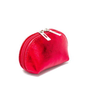 Metallic red leather coin purse