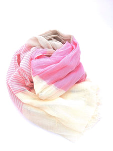 Pink striped summer scarf