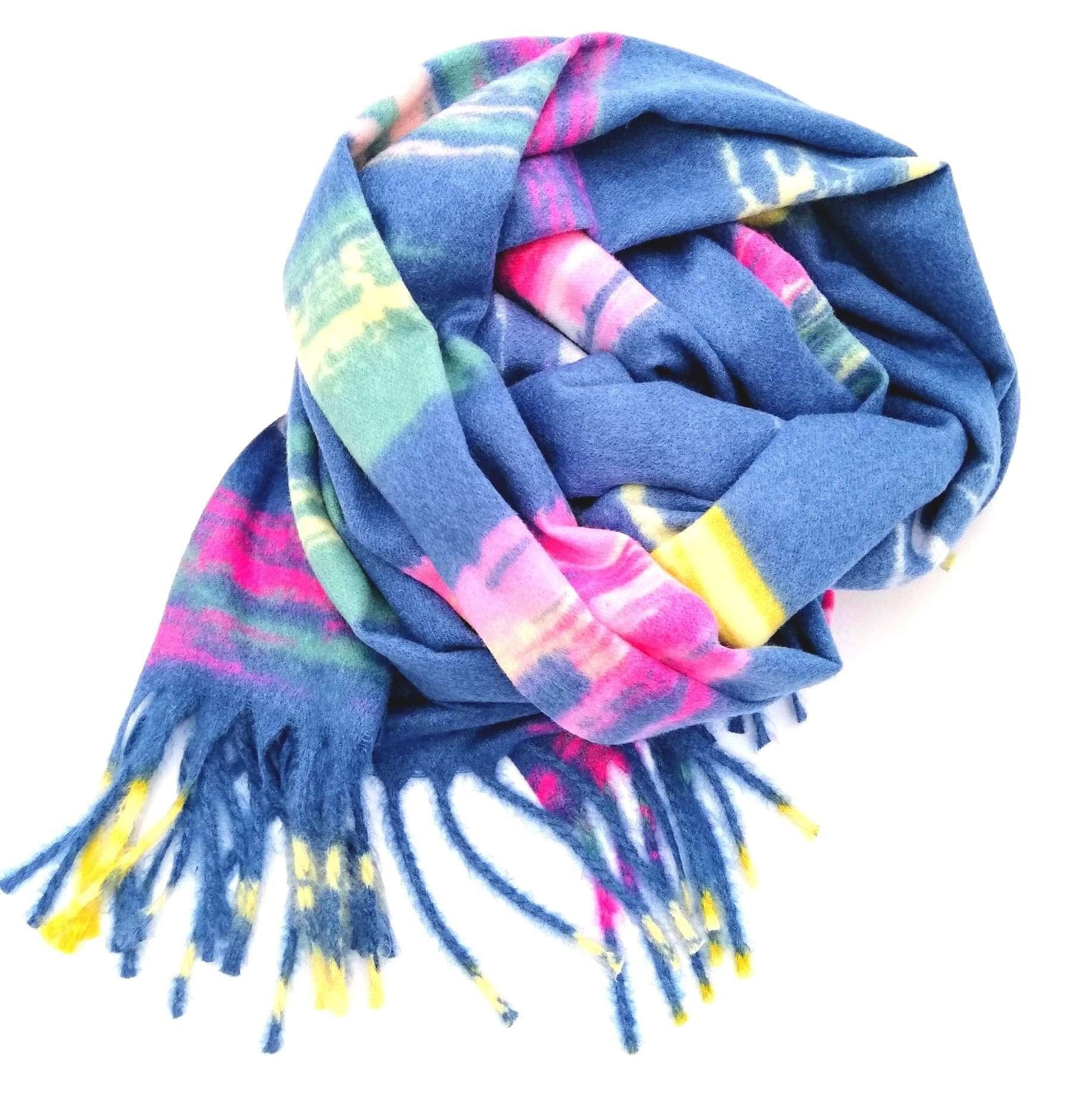 Soft multi coloured scarf in blue