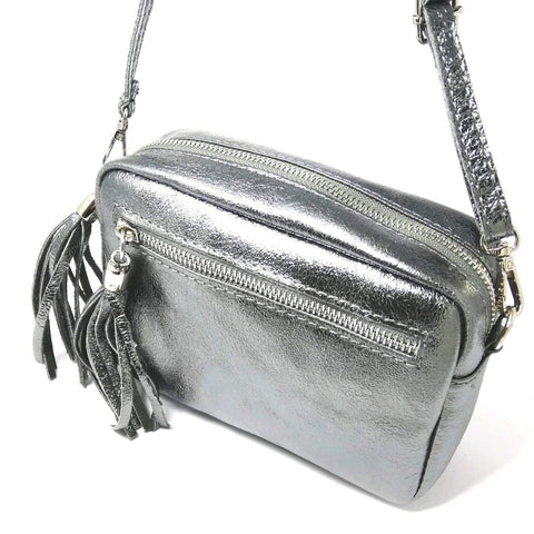 Pewter cross body leather bag with tassels