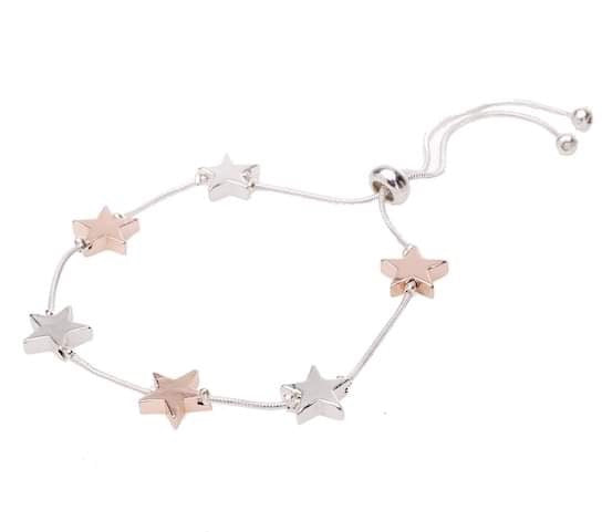 Star bracelet in rose gold & silver