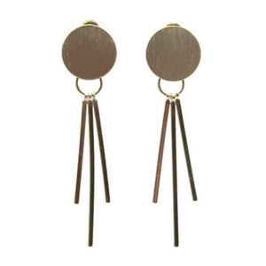 Soft brushed gold disc/drop earrings