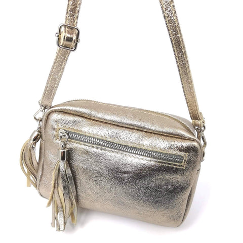 Bronze cross body leather bag with tassels