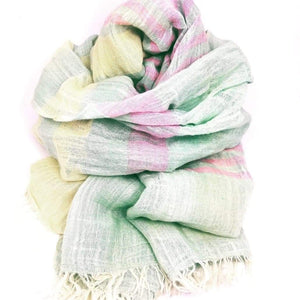Pastel striped linen scarf
