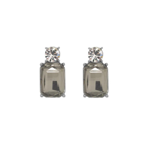 Slate Grey crystal earrings with Sterling silver posts