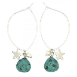 Green stone and star charm hoop earrings