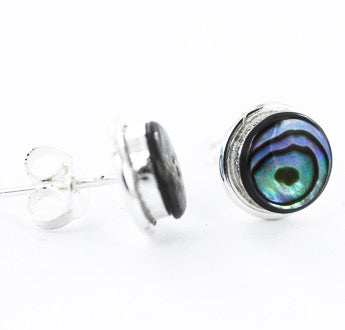 Sterling silver and abalone stud earrings