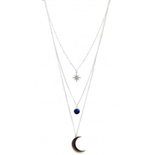Layered moon and star necklace