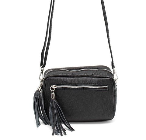 Cross body leather bag with tassels