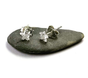 Tiny crystal studs in Sterling silver