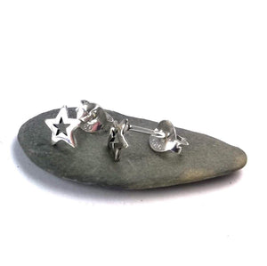 Cut out Sterling silver star studs