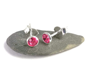 Tourmaline crystal stud in Sterling silver