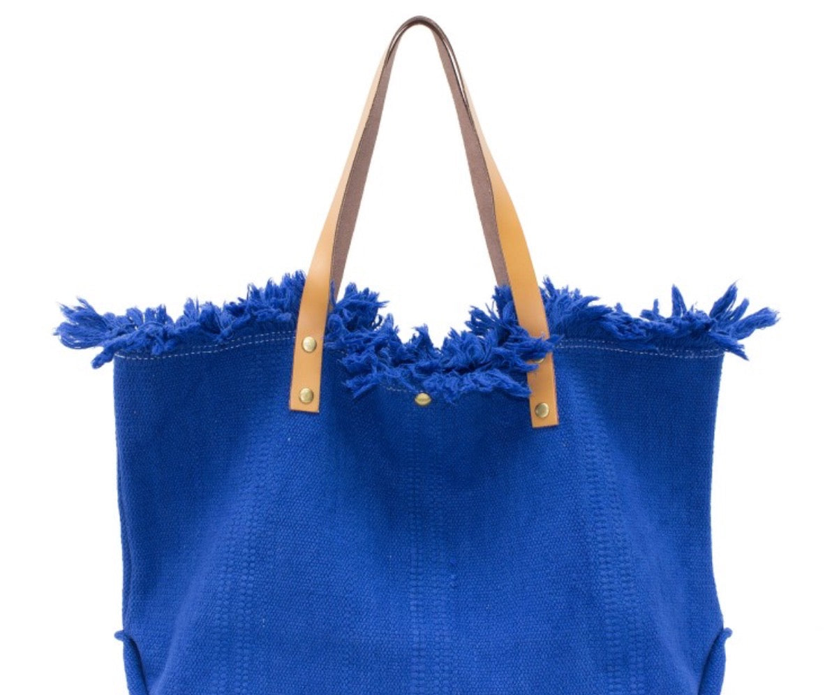 Blue canvas summer bag with leather handles