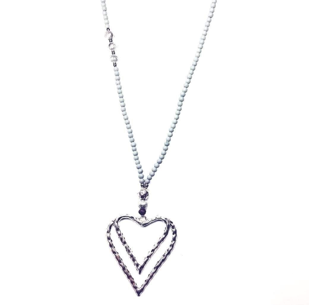 Long beaded necklace with silver heart