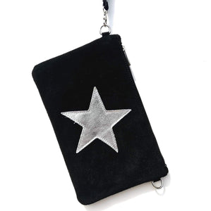 Black suede star clutch