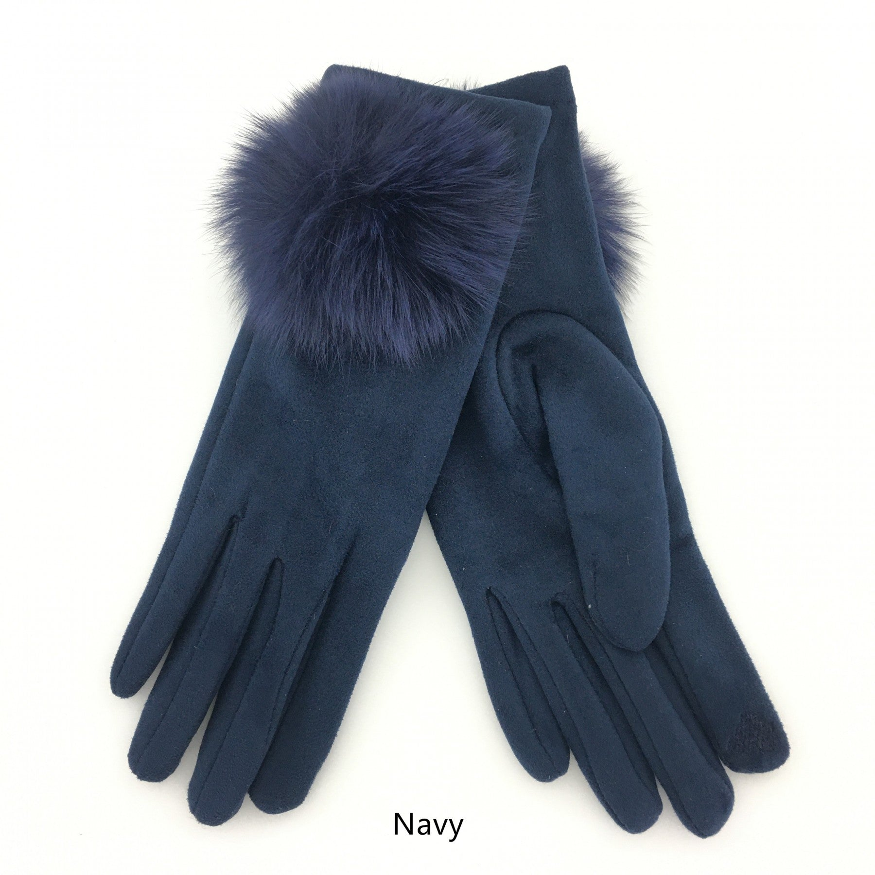 Navy gloves with faux fur detail.