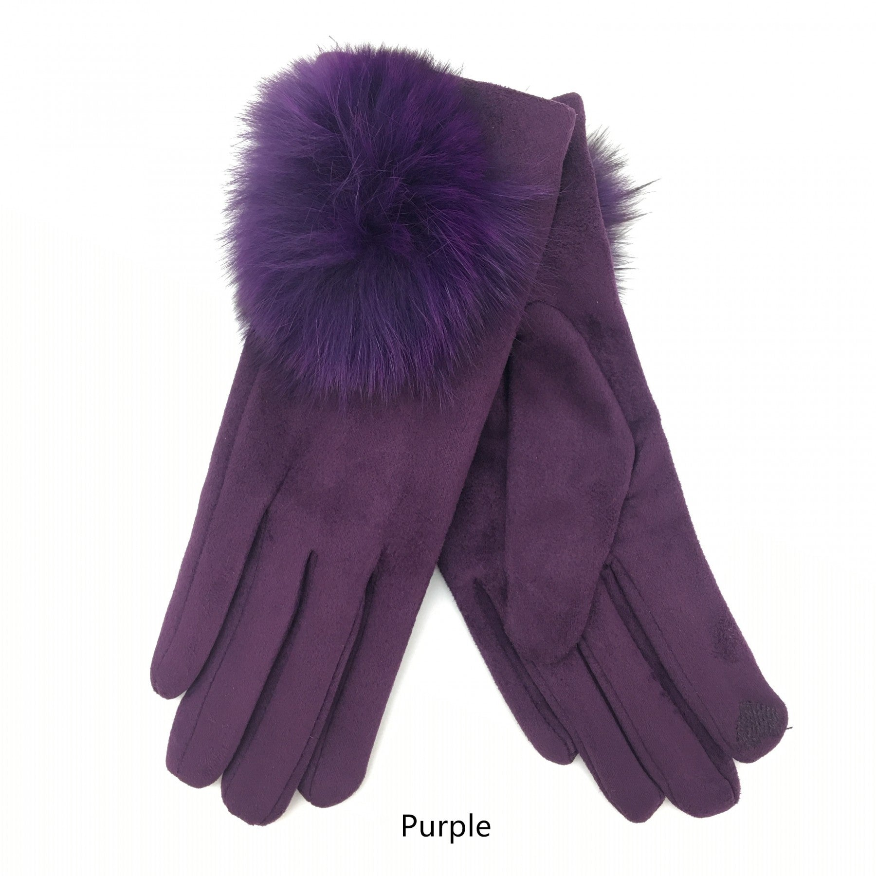 Purple pom pom gloves