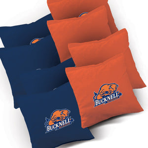 Bucknell Bison Swoosh team logo corn hole bags