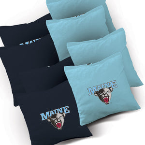 Maine Black Bears Distressed team logo corn hole bags