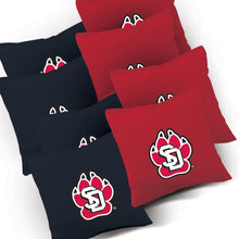 Load image into Gallery viewer, South Dakota Coyotes Stained Pyramid team logo corn hole bags