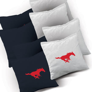 SMU Mustangs Stained Pyramid team logo corn hole bags