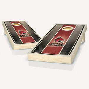 Ball State Cardinals Stained Striped Cornhole Boards