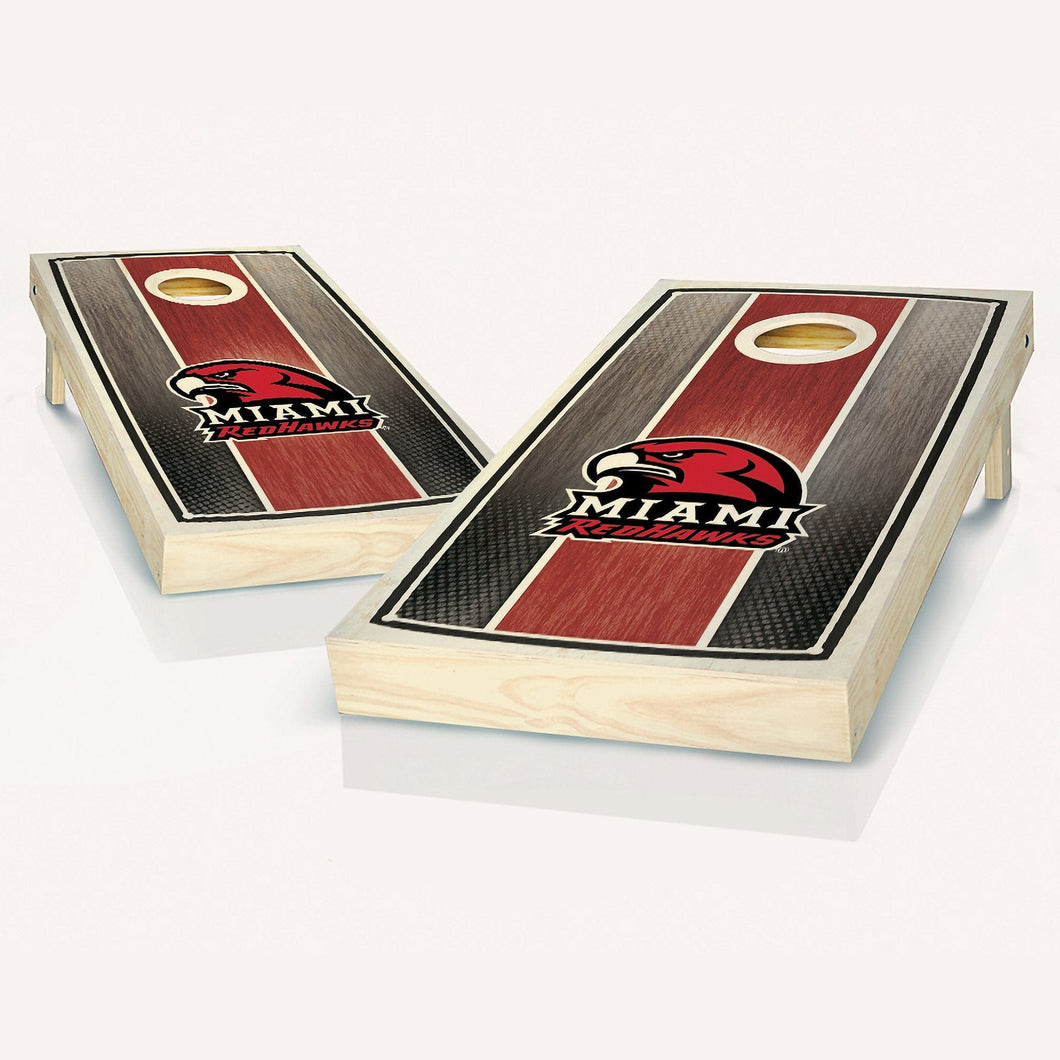 Miami Redhawks Stained Stripe Cornhole Boards