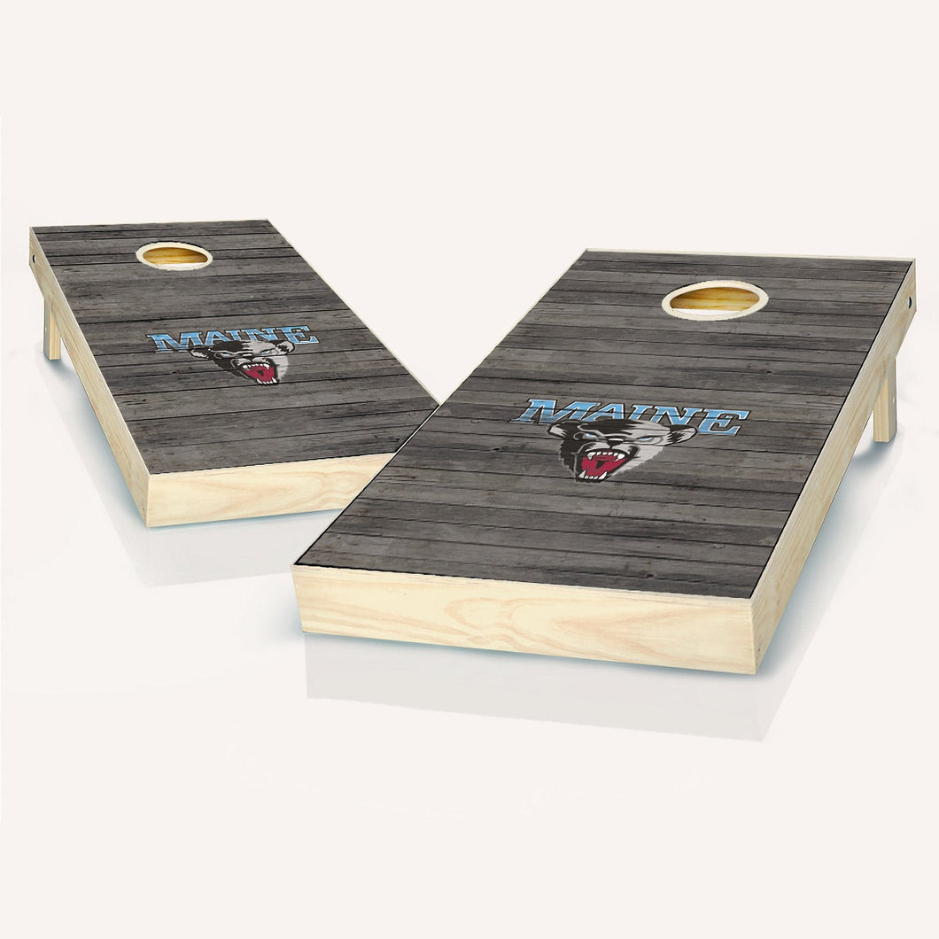 Maine Black Bears Distressed Cornhole Boards