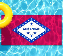 Load image into Gallery viewer, Arkansas State Flag poolmat from above
